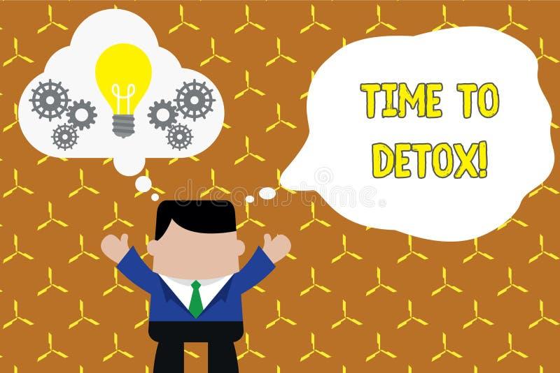 Tekstteken die Tijd tonen aan Detox Conceptuele foto wanneer u uw lichaam van toxine zuivert of ophoudt verbruikend drug Status vector illustratie