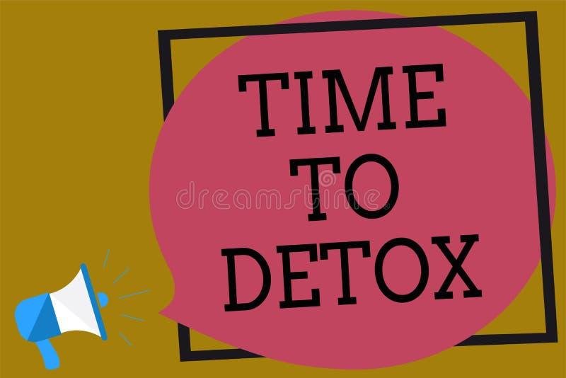 Tekstteken die Tijd tonen aan Detox Het conceptuele fotoogenblik voor de behandeling van de de gezondheidsverslaving van de Dieet stock illustratie