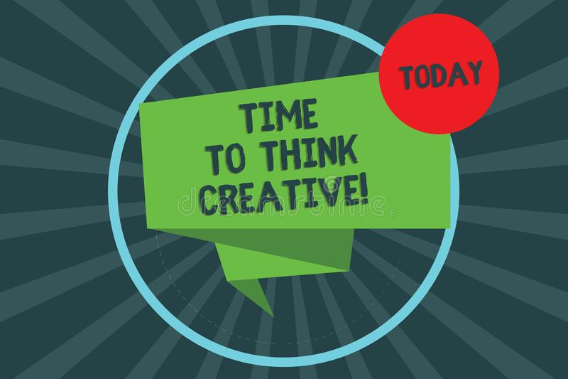 Tekstteken die Tijd tonen Creatief te denken De conceptuele originele ideeën die van de fotocreativiteit Gevouwen Inspiratie 3D d vector illustratie