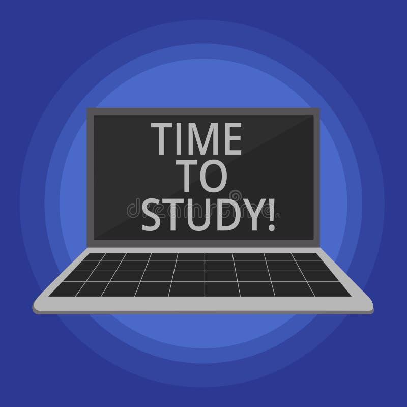 Tekstteken die Tijd tonen te bestuderen De conceptuele fotoexamens vergen vooruit concentraat in studies leren de les vector illustratie