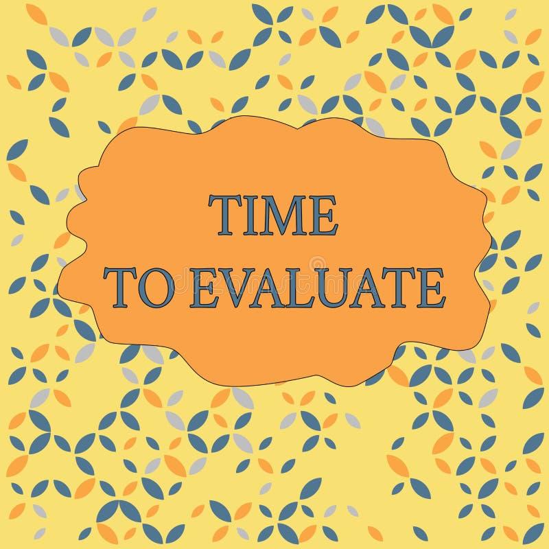 Tekstteken die Tijd tonen te evalueren De conceptuele foto beoordeelt iets met betrekking tot zijn Naadloze waarde of betekenis stock illustratie
