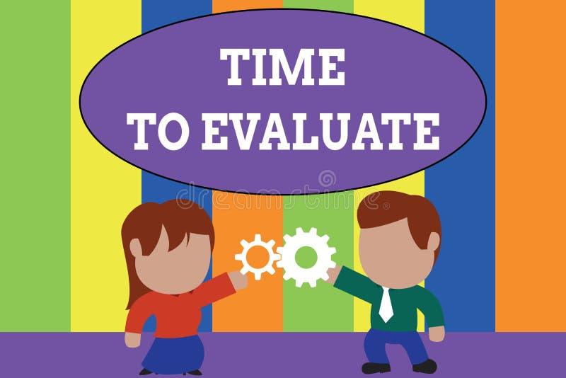 Tekstteken die Tijd tonen te evalueren De conceptuele foto beoordeelt iets met betrekking tot zijn waarde of betekenis Status vector illustratie