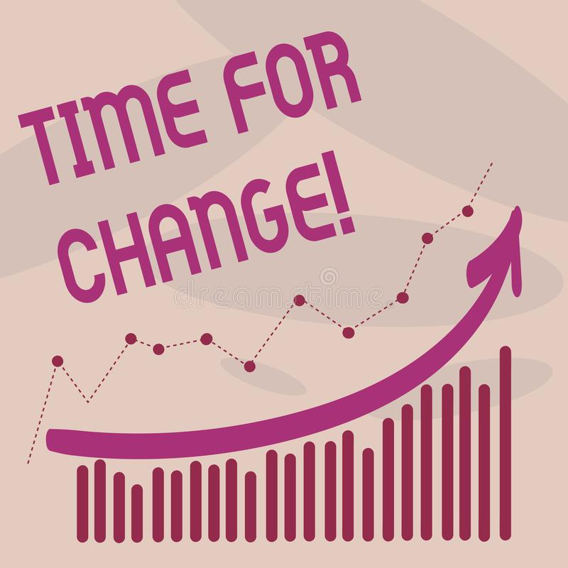 Tekstteken die Tijd voor Verandering tonen De conceptuele Kans van het de Evolutie Nieuwe Begin van het foto Veranderende Ogenbli stock illustratie