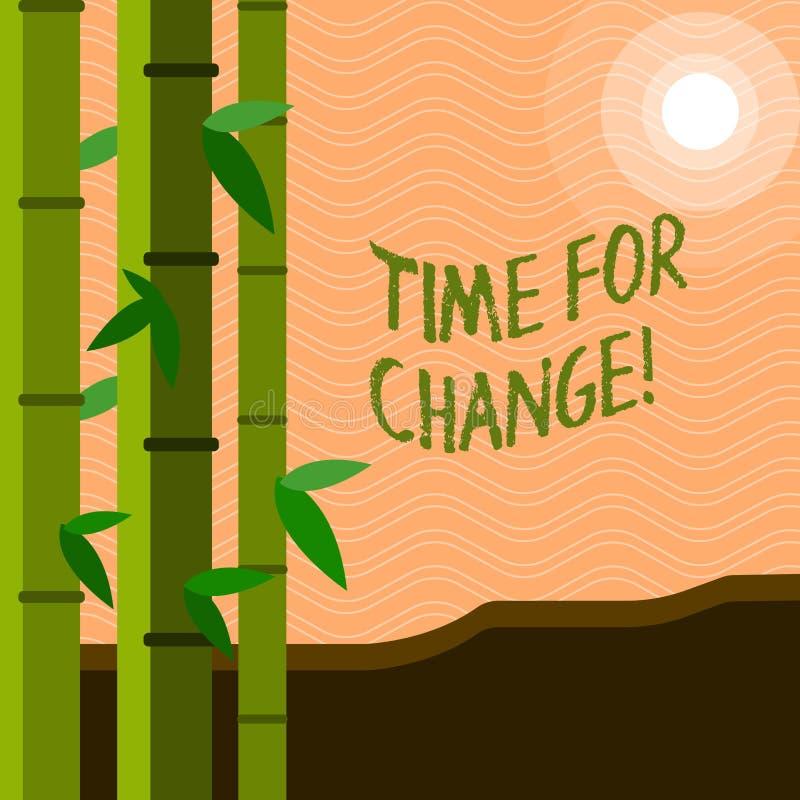 Tekstteken die Tijd voor Verandering tonen De conceptuele Kans van het de Evolutie Nieuwe Begin van het foto Veranderende Ogenbli vector illustratie