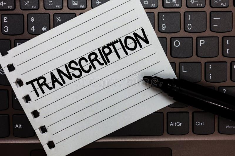 Tekstteken die Transcriptie tonen Conceptuele Geschreven of gedrukte foto versie van iets Duurzame kopie van het audiodocument va royalty-vrije stock foto