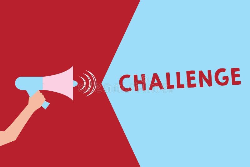 Tekstteken die Uitdaging tonen De conceptuele fotovraag aan iemand om aan concurrerende situatie deel te nemen sloeg de analyse v stock illustratie