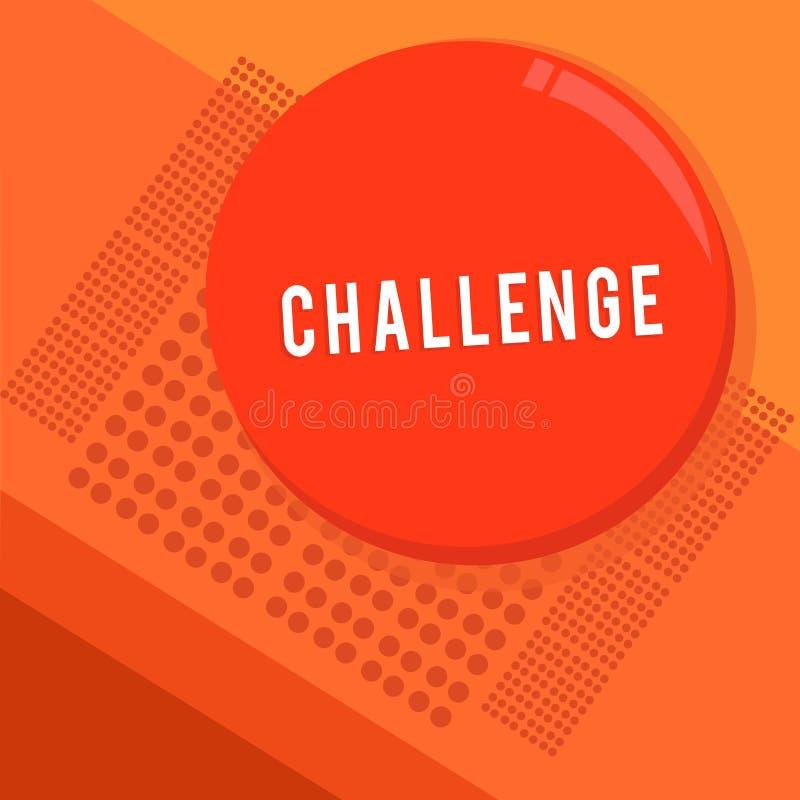 Tekstteken die Uitdaging tonen De conceptuele fotovraag aan iemand om aan concurrerende situatie deel te nemen sloeg Cirkel Ronde stock illustratie