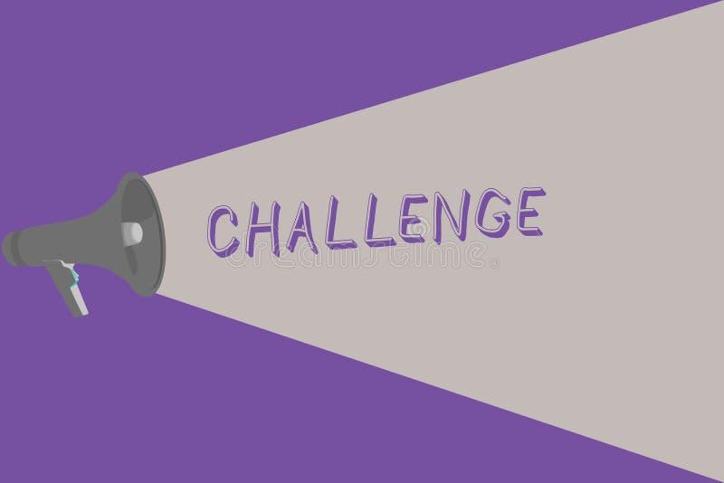 Tekstteken die Uitdaging tonen De conceptuele fotovraag aan iemand om aan concurrerende situatie deel te nemen sloeg Halftone stock illustratie