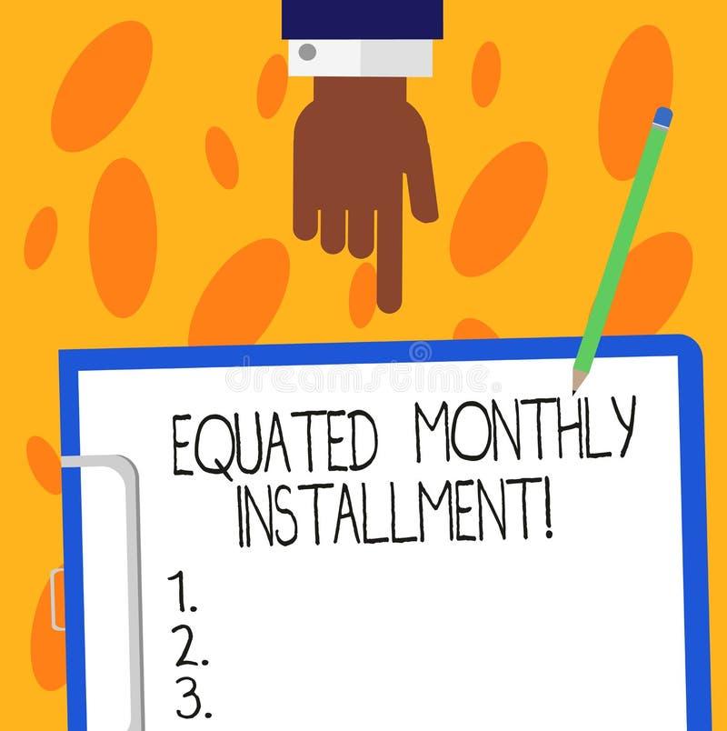 Tekstteken die Vergeleken Maandelijks Voorschot tonen De conceptuele van de terugbetalings maandelijkse voorschotten van fotocons stock illustratie