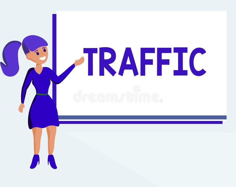 Tekstteken die Verkeer tonen Conceptuele fotovoertuigen die zich bij Vervoer van de openbare weg de Automobiele motie bewegen royalty-vrije illustratie