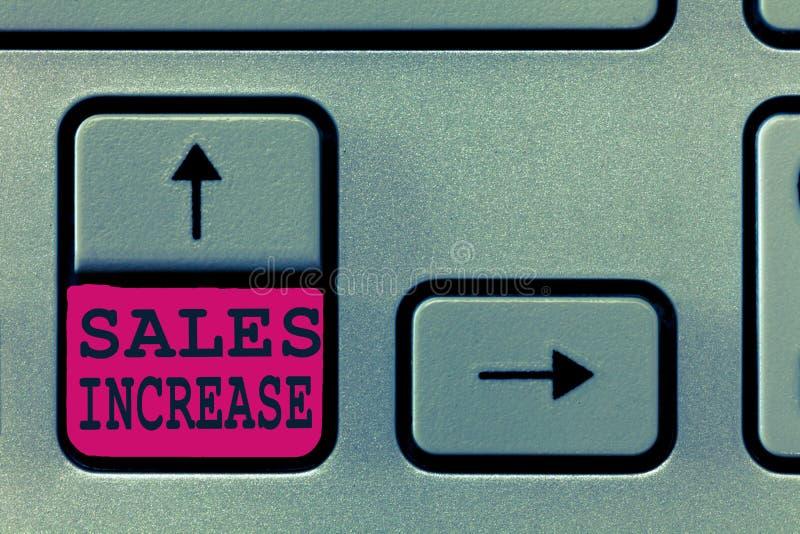 Tekstteken die Verkoopverhoging tonen De conceptuele foto kweekt uw zaken door manieren te vinden om verkoop te verhogen royalty-vrije stock afbeelding