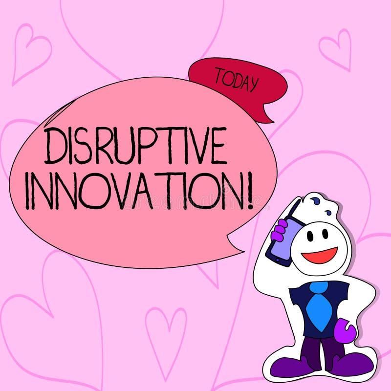 Tekstteken die Vernietigende Innovatie tonen Conceptuele foto die opgezet marketleading firma's of product Smiley verplaatsen vector illustratie