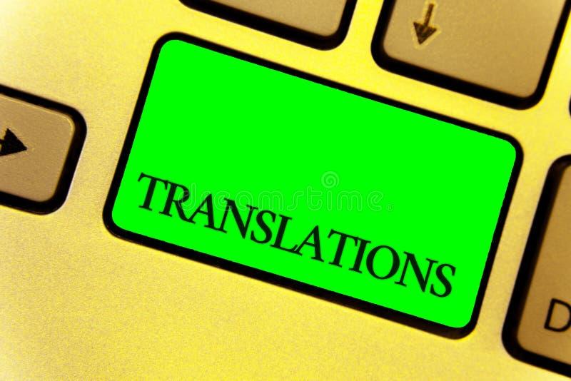 Tekstteken die Vertalingen tonen De conceptuele Geschreven of gedrukt foto proces om de stem van de woordentekst te vertalen dich stock afbeeldingen