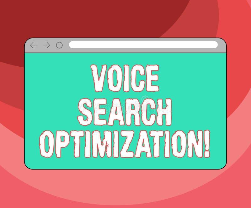 Tekstteken die Voice Search-Optimalisering tonen De conceptuele foto verbetert Web zoekend door het gesproken comanalysisds Monit vector illustratie