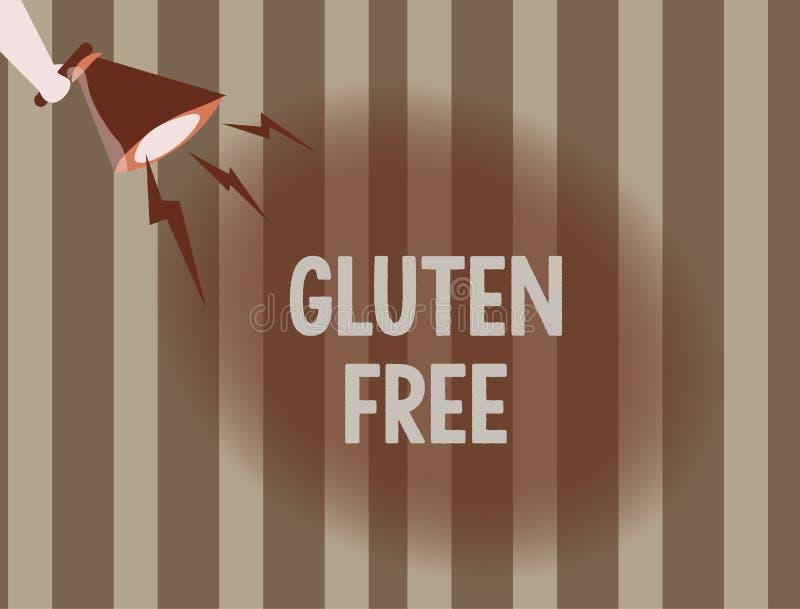 Tekstteken die Vrij Gluten tonen Conceptueel fotovoedsel en dieet die die geen proteïne bevatten in korrels en tarwe wordt gevond royalty-vrije illustratie