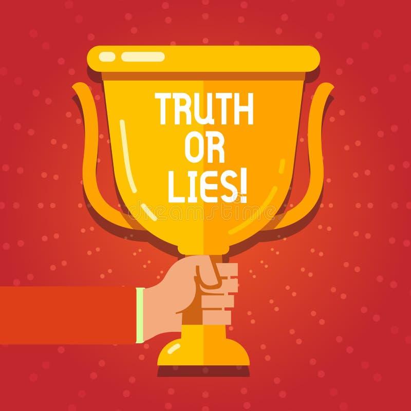 Tekstteken die Waarheid of Leugens tonen De conceptuele foto beslist tussen een feit of het vertellen van een verwarring van de l vector illustratie