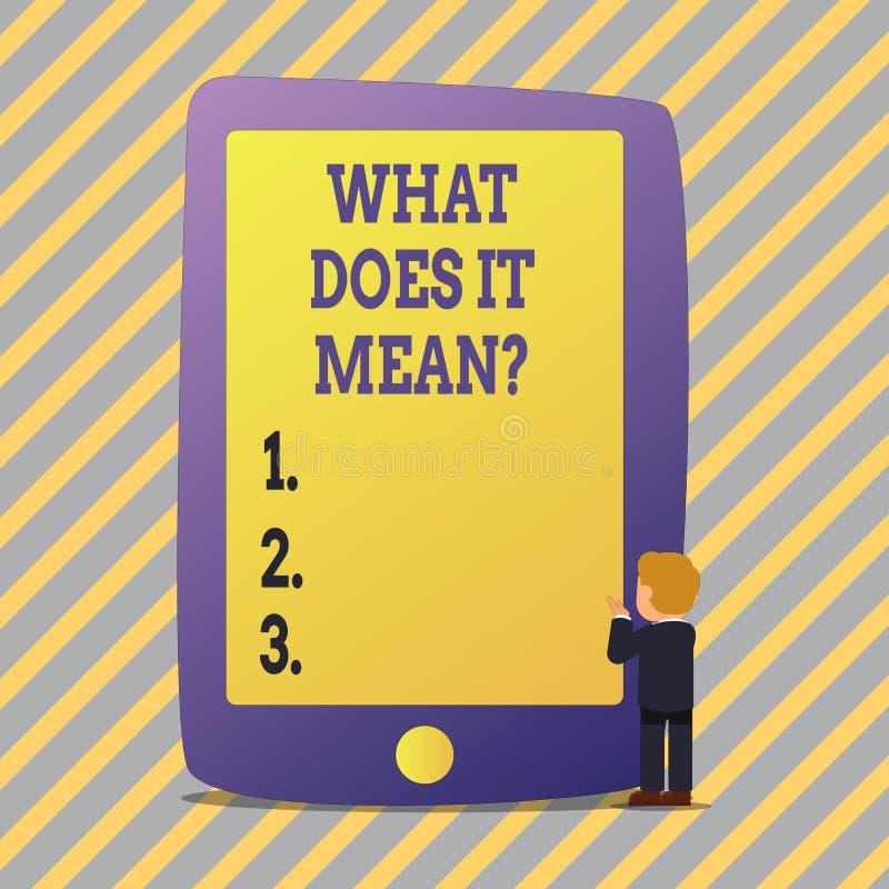 Tekstteken die wat tonen het Meanquestion doet Het conceptuele de Nieuwsgierigheid van de fotoverwarring Vragen onderzoekt stock illustratie