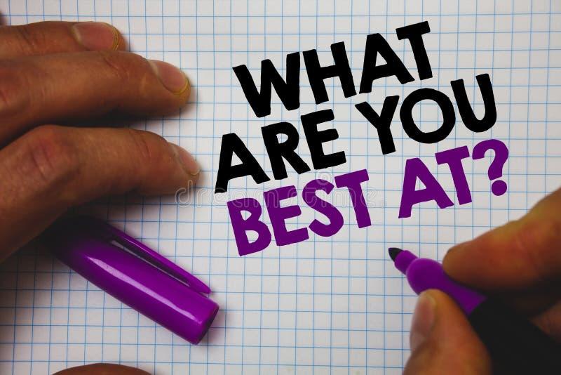 Tekstteken die wat tonen u Best bij Vraag zijn De conceptuele foto Individuele creativiteit is unieke pu van de de greepholding v stock foto