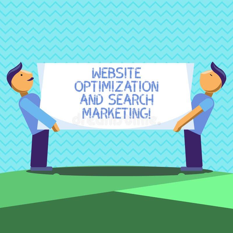 Tekstteken die Websiteoptimalisering en Zoeken Marketing tonen Conceptuele optimalisering Twee van de fotozoekmachine Mensen royalty-vrije illustratie
