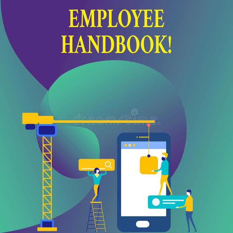 Tekstteken die Werknemershandboek tonen Conceptuele de Verordeningen van het fotodocument Hand het Beleidscode van de Regelshandl vector illustratie