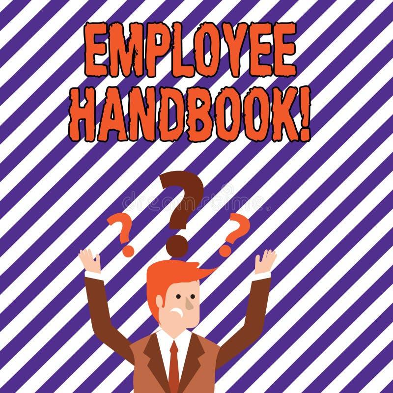 Tekstteken die Werknemershandboek tonen Conceptuele de Verordeningen van het fotodocument Hand het Beleidscode van de Regelshandl royalty-vrije illustratie