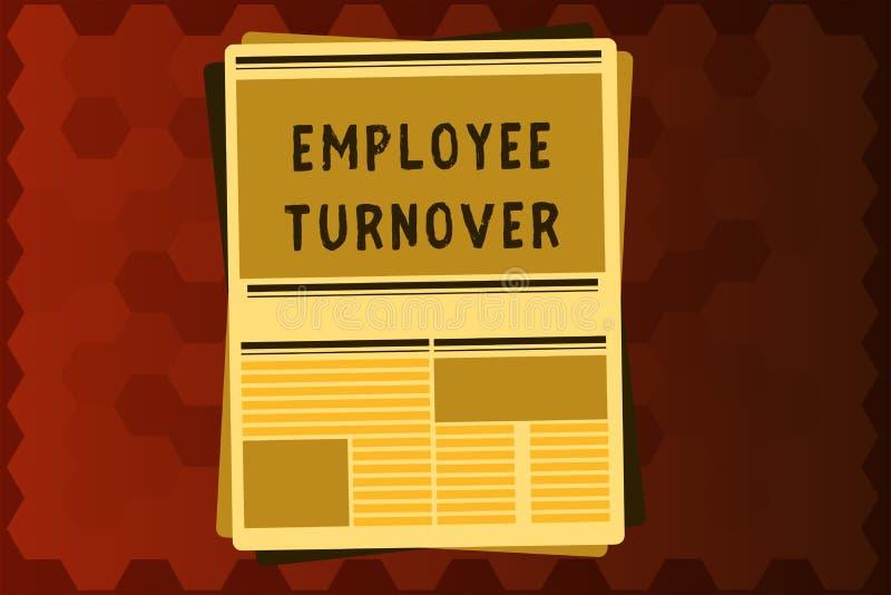 Tekstteken die Werknemersomzet tonen Conceptueel fotoaantal of percentage arbeiders die een organisatie verlaten vector illustratie