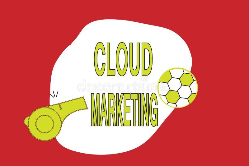 Tekstteken die Wolk Marketing tonen Conceptuele foto het proces van een organisatie om hun diensten op de markt te brengen vector illustratie