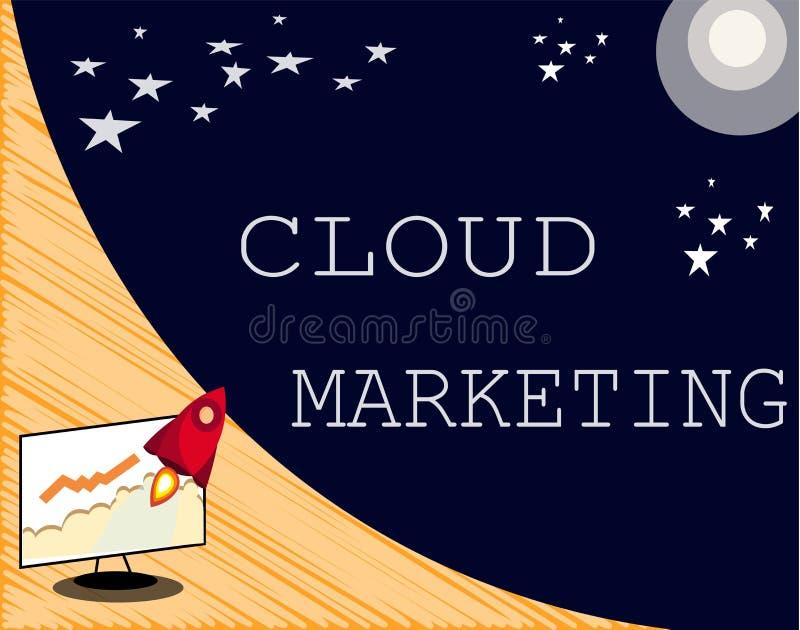 Tekstteken die Wolk Marketing tonen Conceptuele foto het proces van een organisatie om hun diensten op de markt te brengen stock illustratie