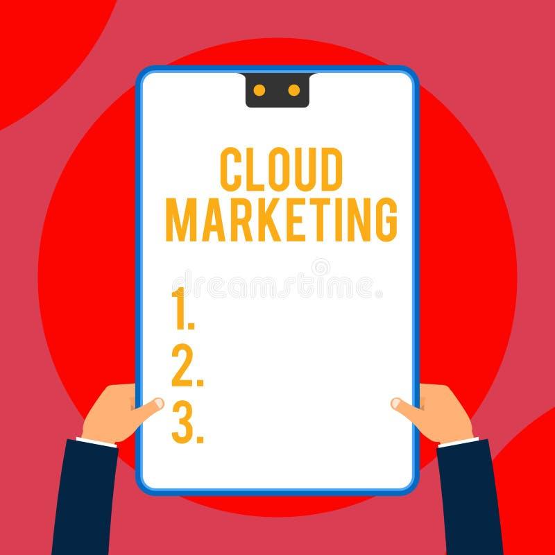 Tekstteken die Wolk Marketing tonen Conceptuele foto het proces van een organisatie om hun diensten Twee op de markt te brengen stock illustratie