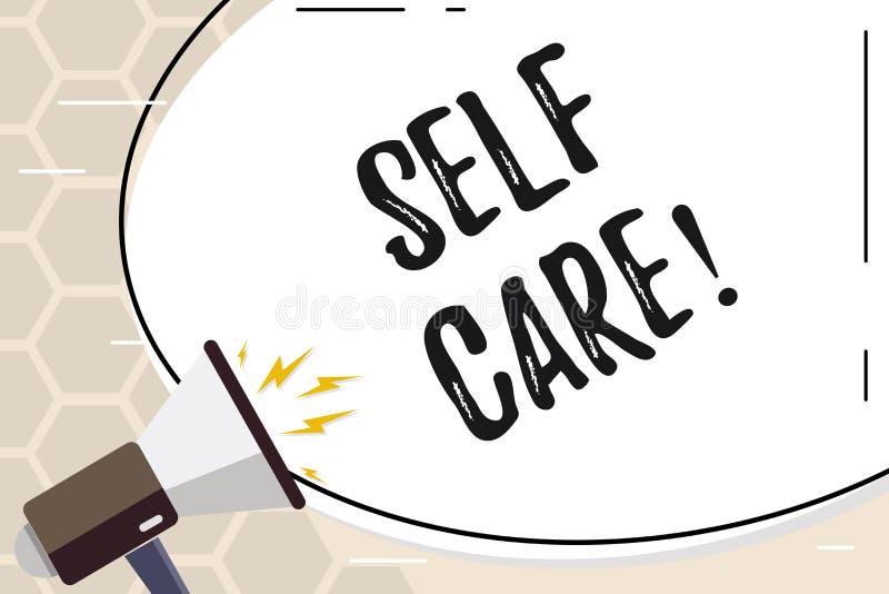 Tekstteken die Zelfzorg tonen De conceptuele fotobescherming u aan geeft zich het Individuele controle controleren stock illustratie