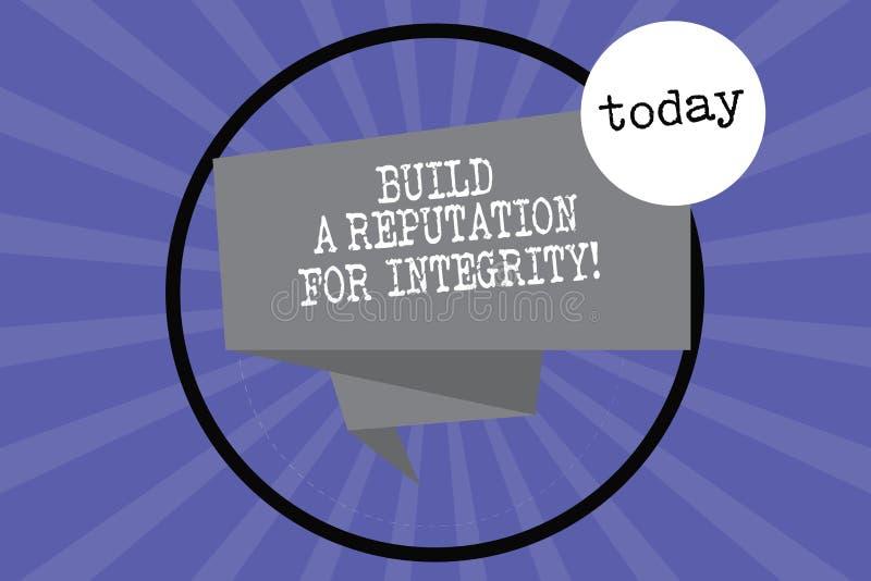 Tekstteken het tonen bouwt een Reputatie voor Integriteit De conceptuele foto verkrijgt goed terugkoppelt gebaseerd op ethiek Gev royalty-vrije illustratie