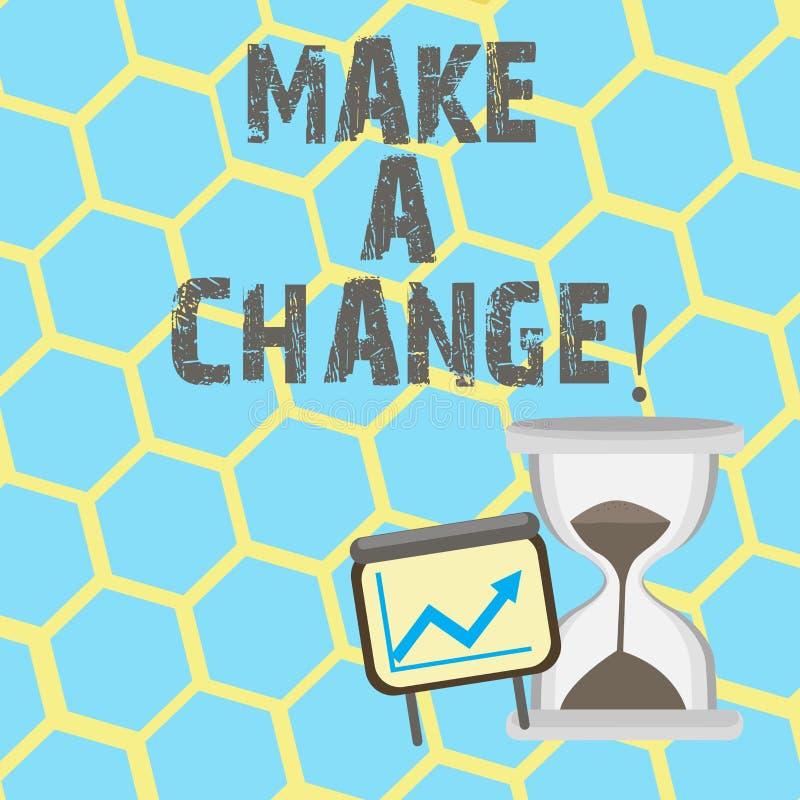 Tekstteken het tonen brengt een Verandering aan De conceptuele foto probeert nieuw ding evolueert de Evolutieverbetering Rijpe de vector illustratie