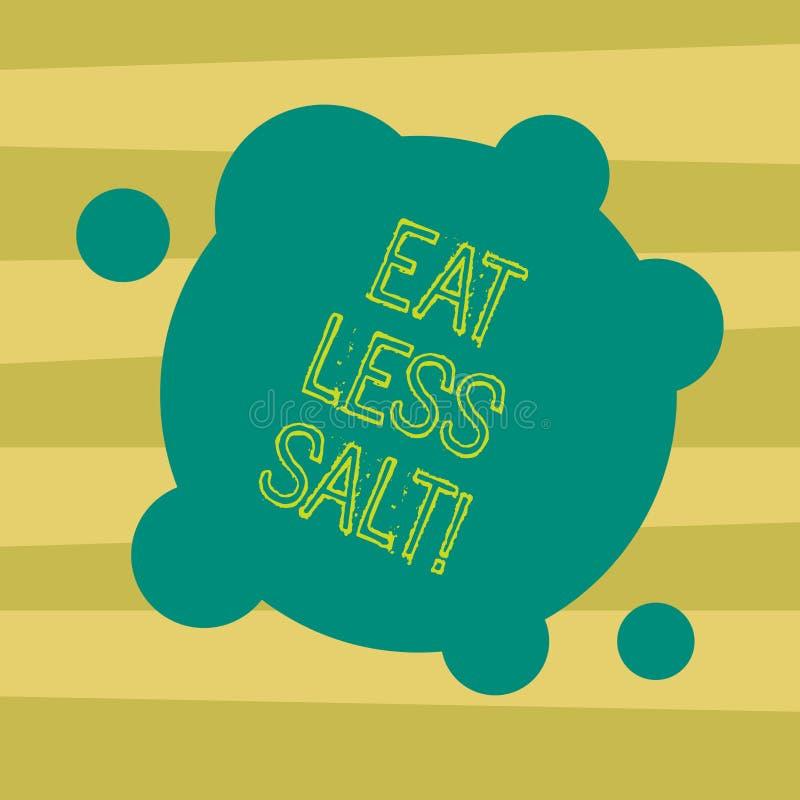 Tekstteken het tonen eet Minder Zout De conceptuele foto vermindert de hoeveelheid natrium in uw dieet etend gezonde Spatie Misvo vector illustratie