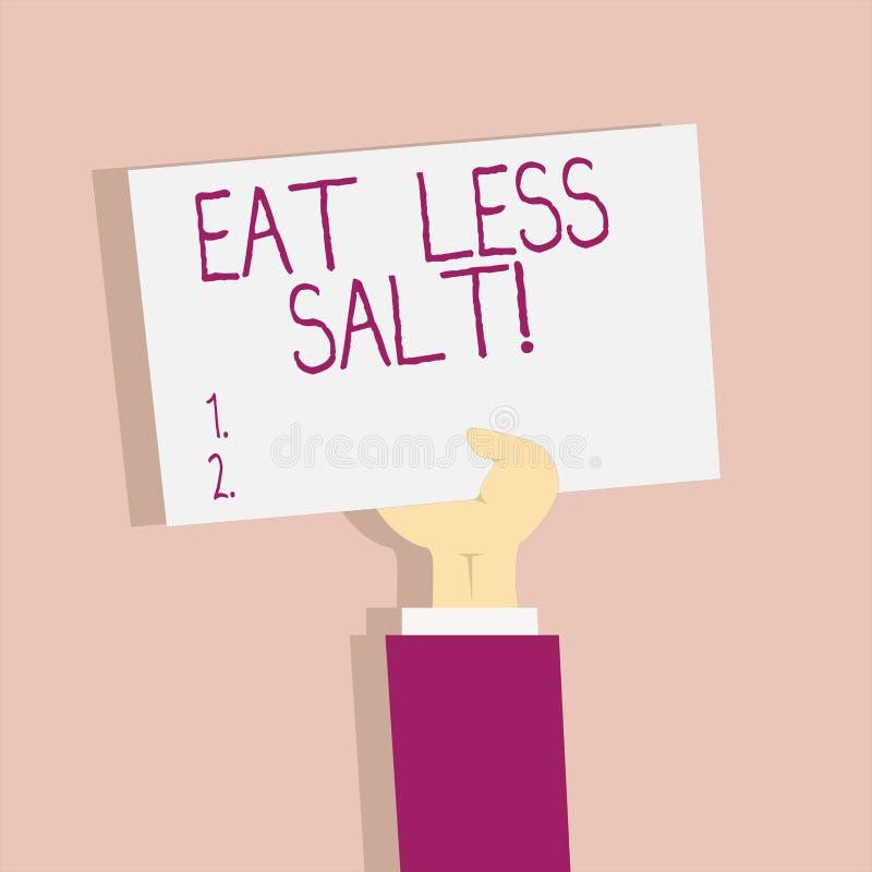 Tekstteken het tonen eet Minder Zout De conceptuele foto vermindert de hoeveelheid natrium in uw dieet gezond eten vector illustratie
