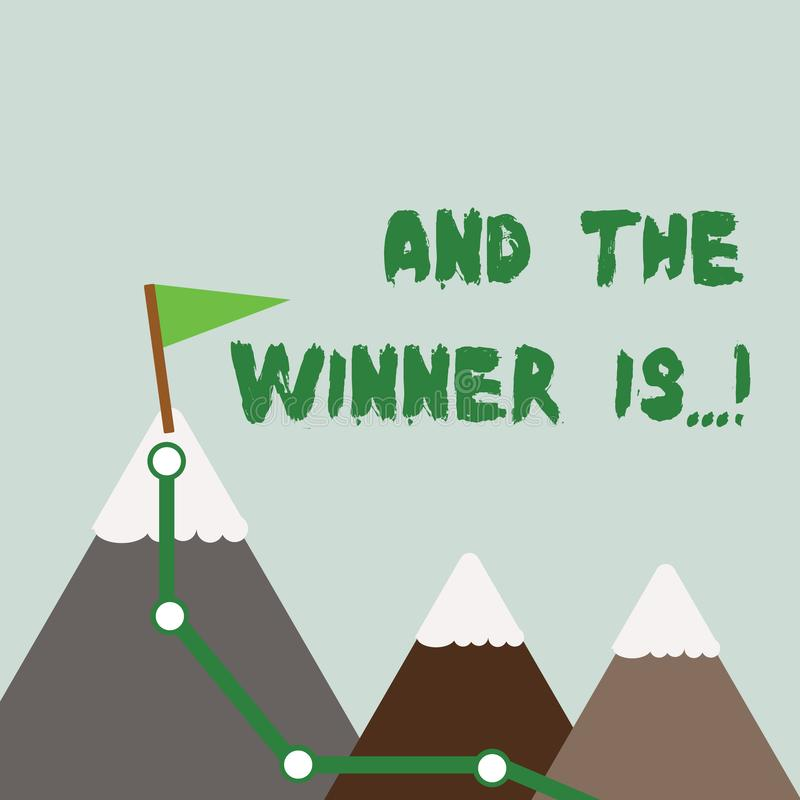 Tekstteken het tonen en de Winnaar zijn Conceptuele foto die wie aankondigt eerste plaats bij de concurrentie of examen Drie kree stock illustratie