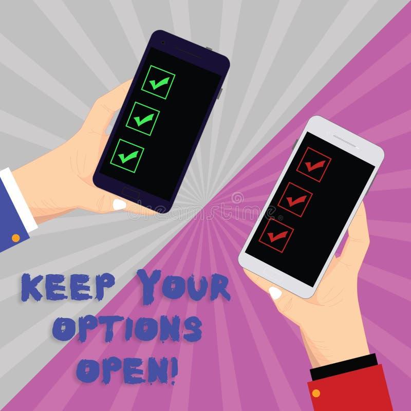 Tekstteken het tonen houdt Uw Opties Open De conceptuele foto leidt beschouwt als alle mogelijke alternatieven Twee de analysehan stock illustratie