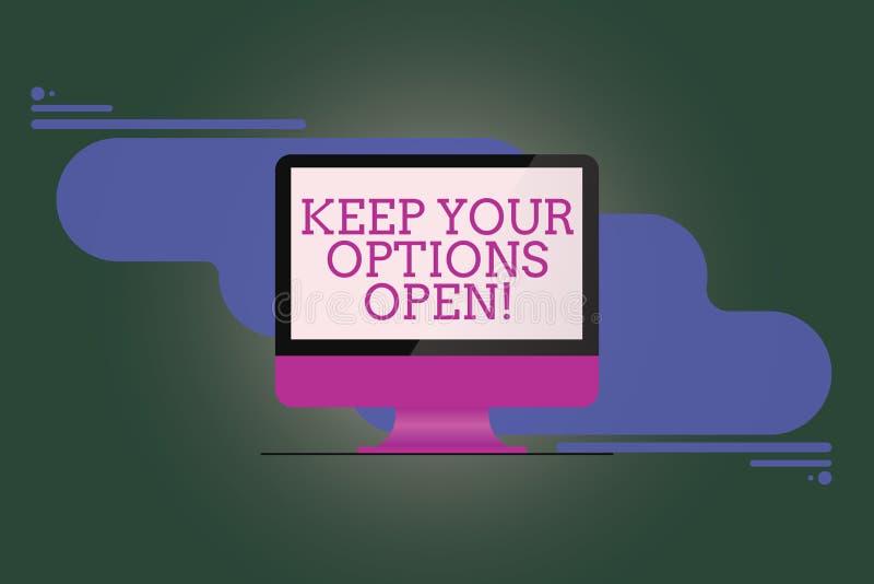 Tekstteken het tonen houdt Uw Opties Open De conceptuele foto leidt overweegt alle mogelijke Opgezette alternatieven royalty-vrije illustratie