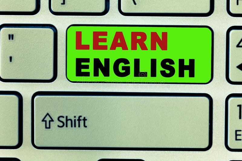 Tekstteken het tonen leert het Engels De conceptuele Gemakkelijke Mededeling van de foto Universele Taal en begrijpt stock fotografie