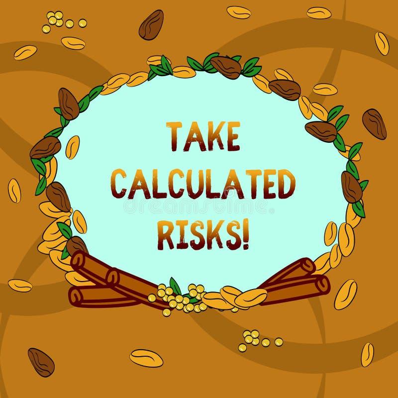Tekstteken het tonen neemt Berekende Risico's Conceptuele die fotokans na zorgvuldige waardevaststelling van de resultatenkroon w stock illustratie