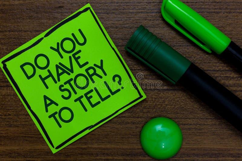 Tekstteken het tonen u heeft een Verhaal om vraag te vertellen De conceptuele die Ervaringen van het Geheugenverhalen van fotosto royalty-vrije stock afbeelding