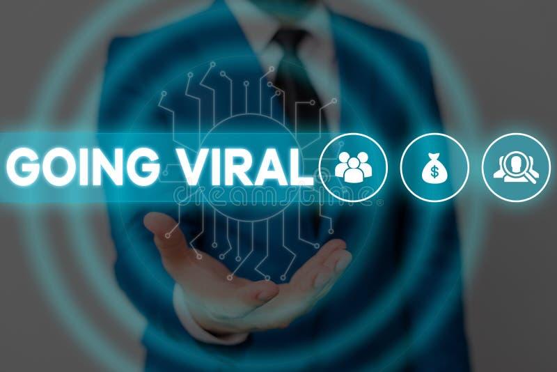 Tekstteken met Going Viral Conceptuele foto-video of link die zich snel verspreidt door de populatie Mannelijke mens stock foto's