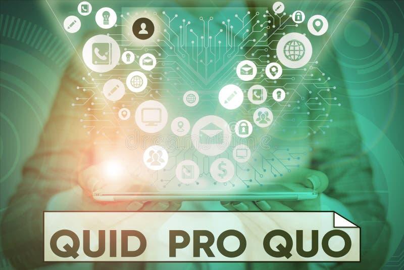Tekstteken met Quid Pro Quo Conceptuele foto Een gunst of een voordeel verleend of verwacht in ruil voor iets royalty-vrije stock afbeelding