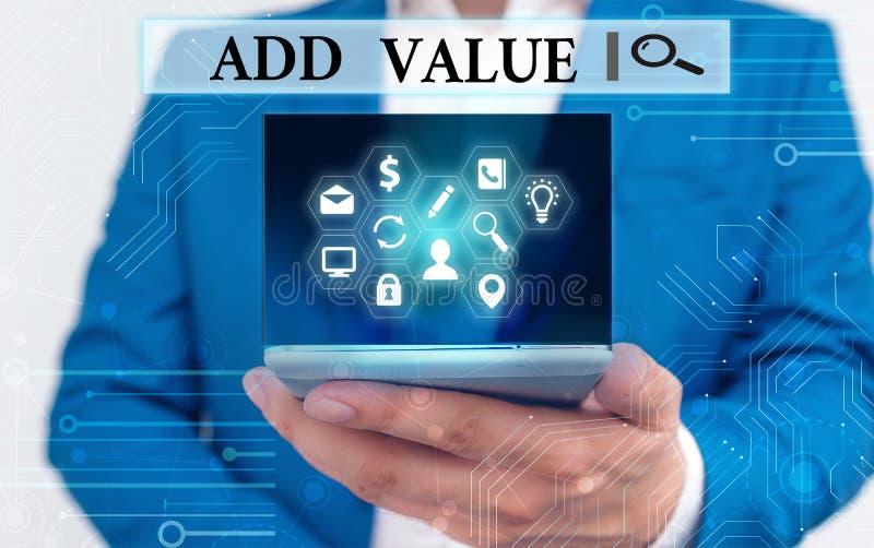 Tekstteken met toegevoegde waarde Conceptuele foto een verbetering of toevoeging aan iets dat het waardevoller maakt royalty-vrije stock afbeelding