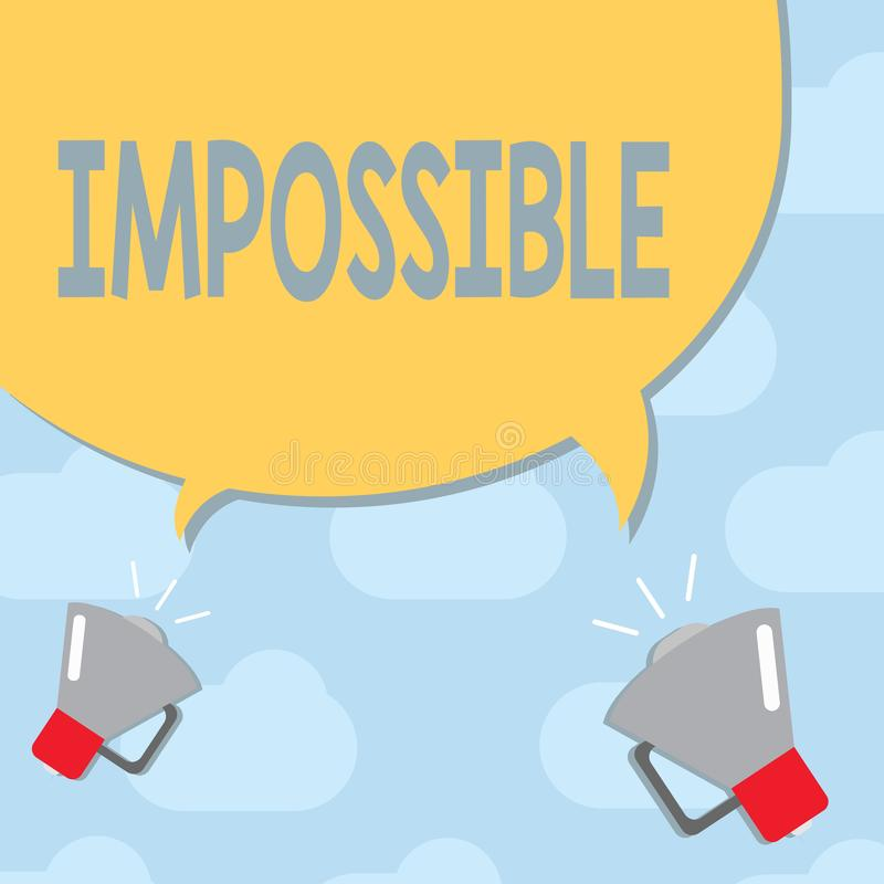 Tekstteken Onmogelijk tonen De conceptuele foto niet bekwaam voor te komen bestaat of is gedaane Moeilijke Uitdaging stock afbeelding