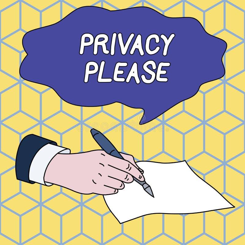 Tekstteken Privacy gelieve te tonen Conceptuele foto die iemand vragen om uw demonstratingal ruimte daar gelaten Mannetje te resp vector illustratie