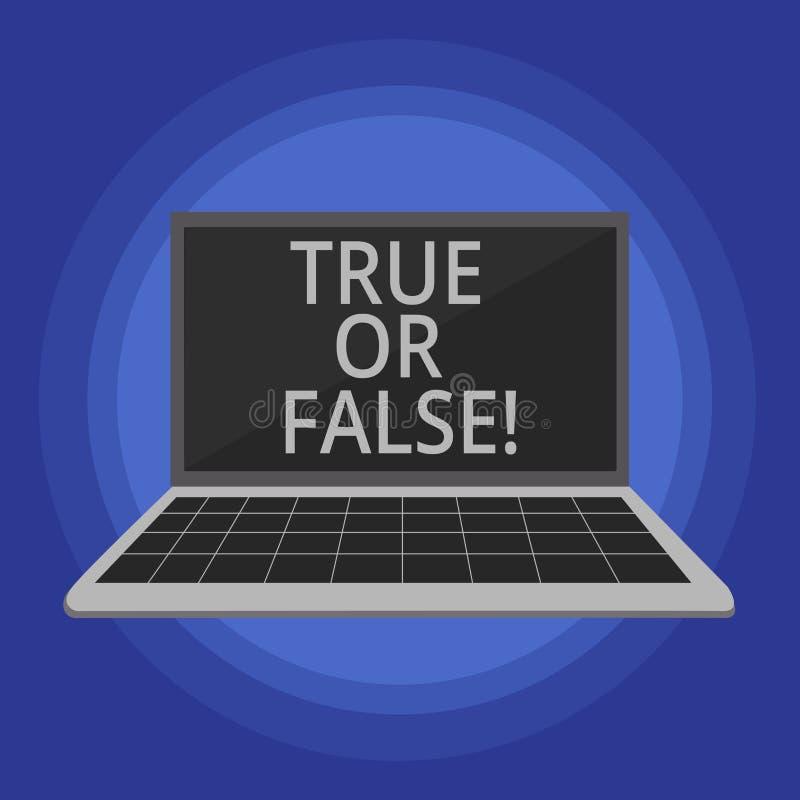 Tekstteken Waar of Vals tonen De conceptuele foto beslist tussen een feit of het vertellen van een verwarring van de leugentwijfe royalty-vrije illustratie