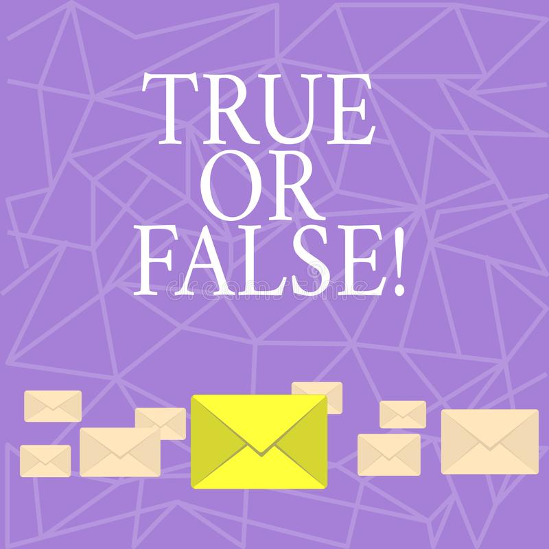 Tekstteken Waar of Vals tonen De conceptuele foto beslist tussen een feit of het vertellen van een verwarring van de leugentwijfe vector illustratie