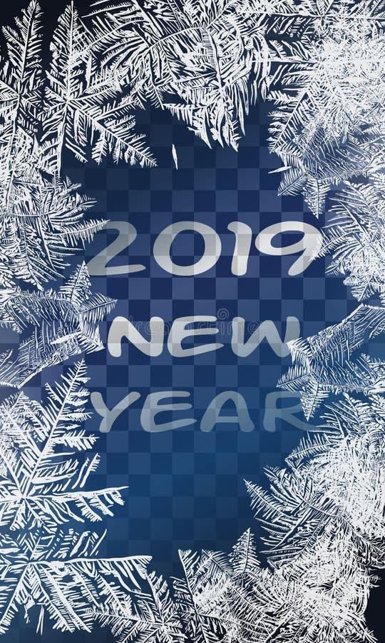 2019 tekstur błękita lód Lodowy lodowisko tło płatków śniegu biały niebieska zima Zasięrzutny widok Wektorowy ilustracyjny natury royalty ilustracja