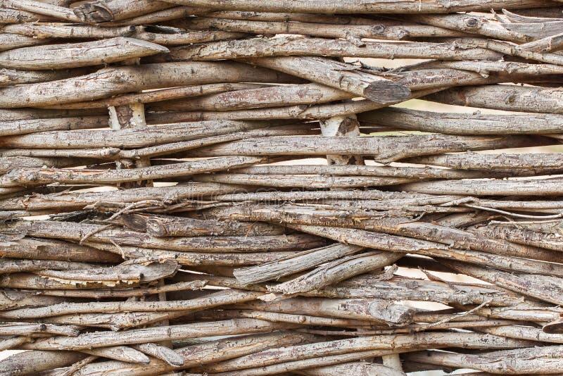 Tekstura łozinowy ogrodzenie - pomysł prosty naturalny tło fotografia stock