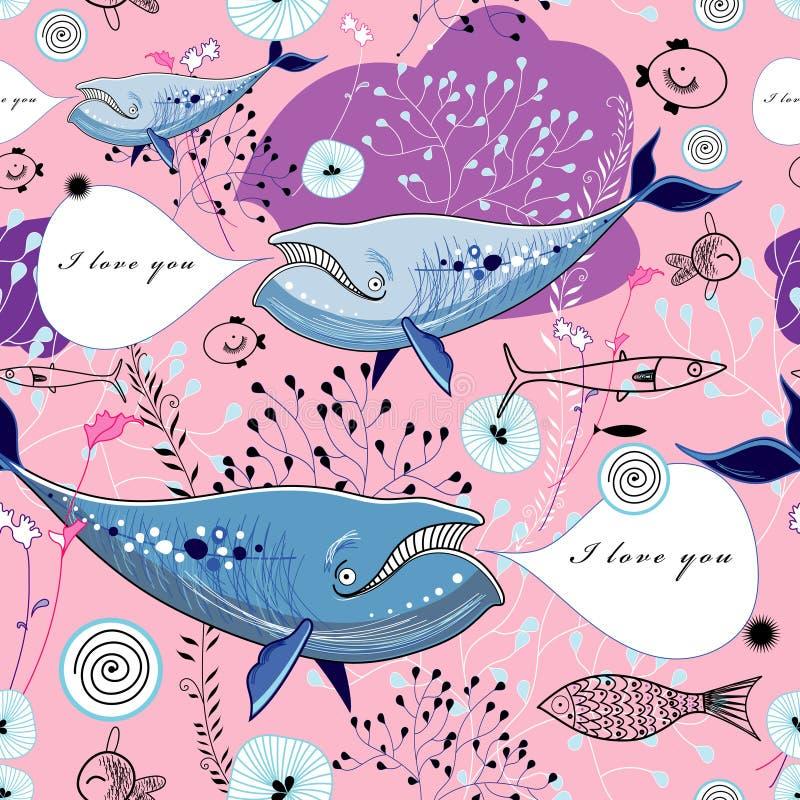 Tekstura śpiewaccy wieloryby royalty ilustracja